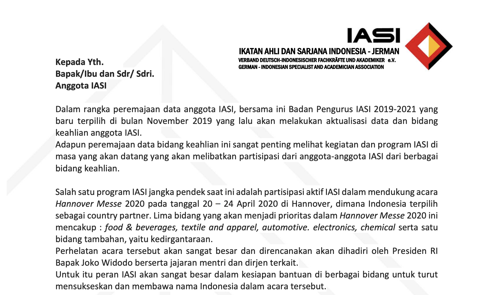 Aktualisasi Anggota IASI 2019-2021
