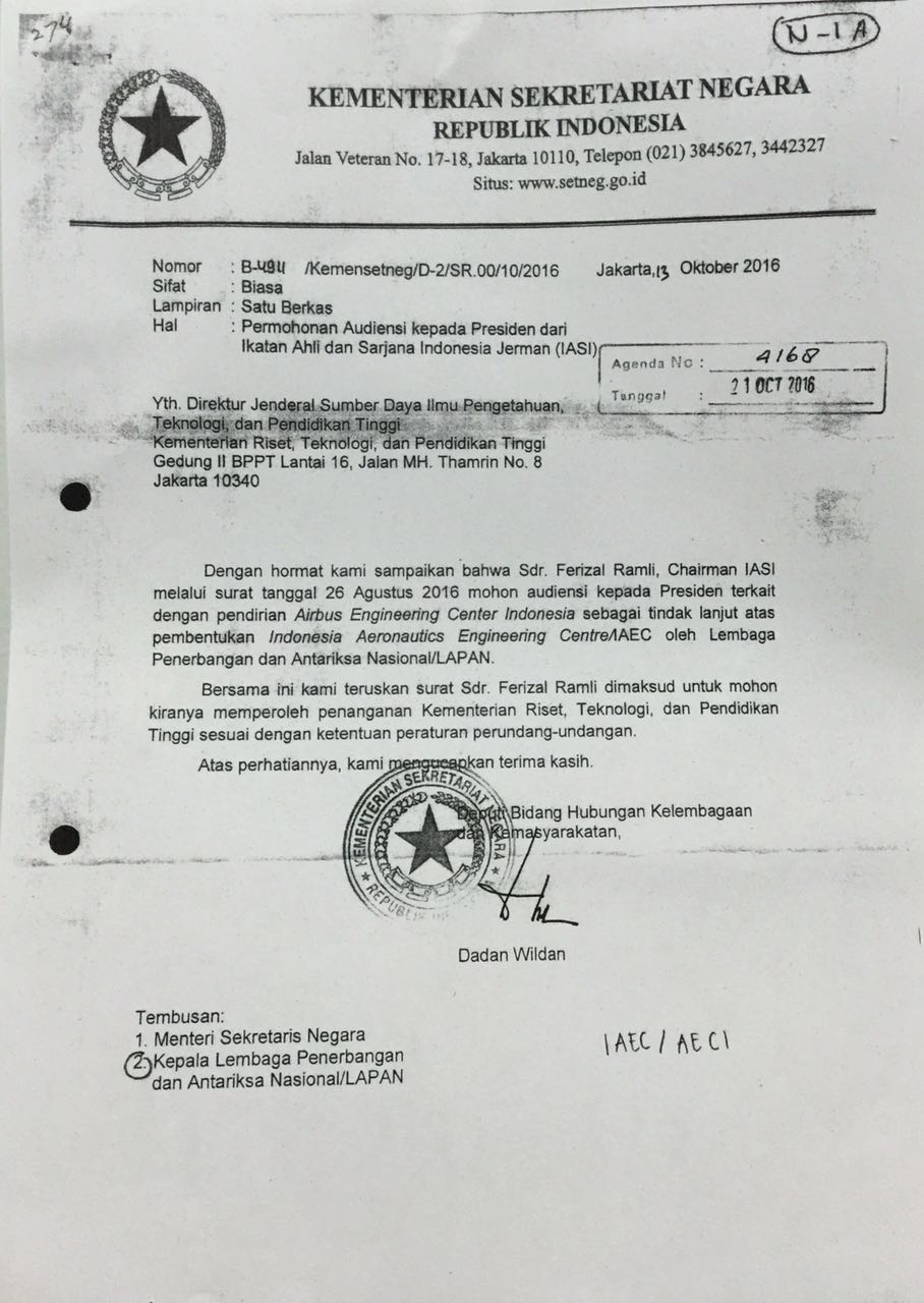 Surat Balasan Dari Mensekneg Atas Permohonan Iasi Iasi